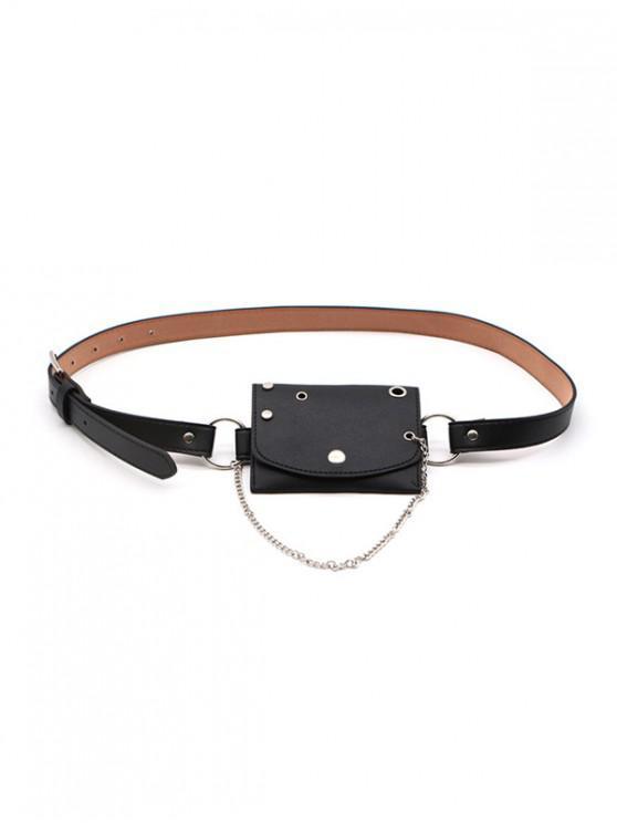 سلسلة ثقب حقيبة تصميم حزام الخصر - أسود