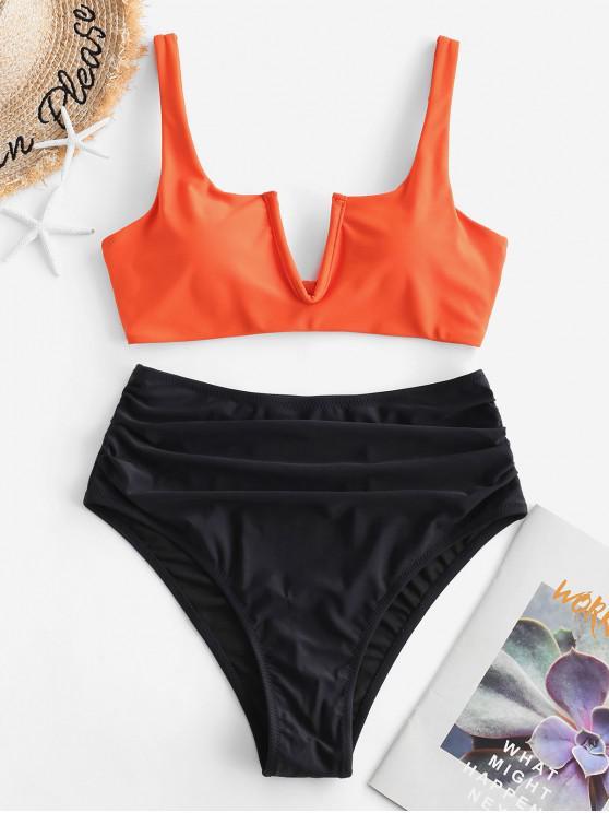 outfit ZAFUL V-wired Ruched High Waisted Bikini Swimsuit - PAPAYA ORANGE XL