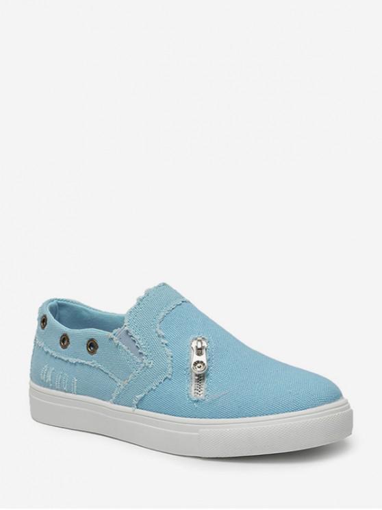 拉鍊口音鞋平底鞋 - 道奇藍 歐盟37