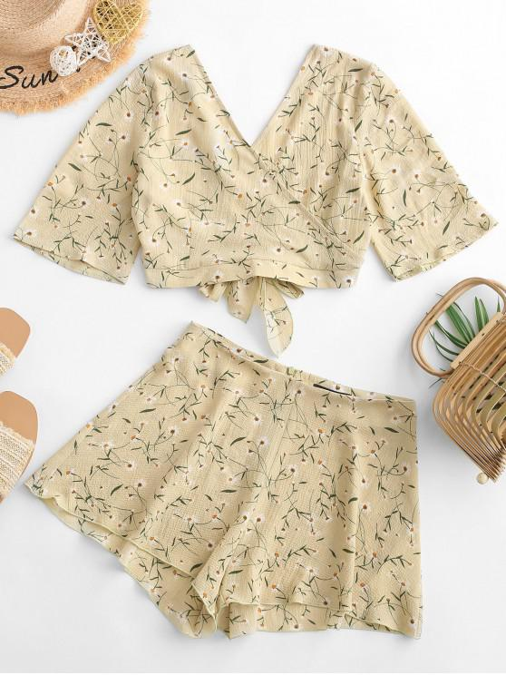 best ZAFUL Knotted Surplice Ditsy Floral Two Piece Set - ARMY BROWN L