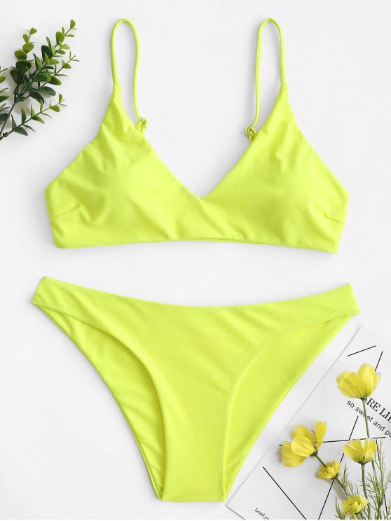 affordable ZAFUL Solid Bralette Bikini Swimsuit - TEA GREEN M