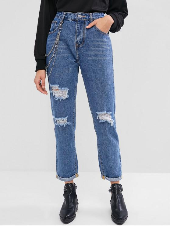 unique Chains Embellished Ripped Cuffed Jeans - DENIM BLUE S