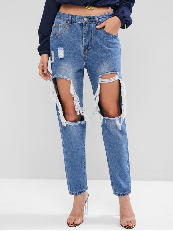 shop Destroyed Cut Out Tapered Jeans - DENIM BLUE M