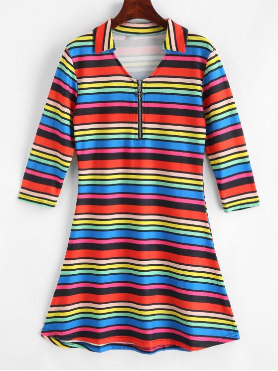 hot Half Zip Rainbow Stripes Mini Dress - MULTI-A XL