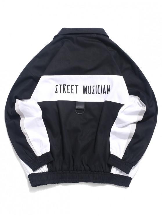 Street Musician Letter Print Color Blocking Panel Chaqueta - Negro M