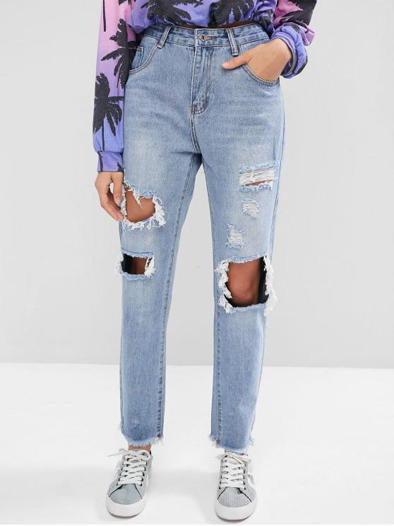 chic Ripped Cut Out Frayed Hem Jeans - DENIM BLUE L