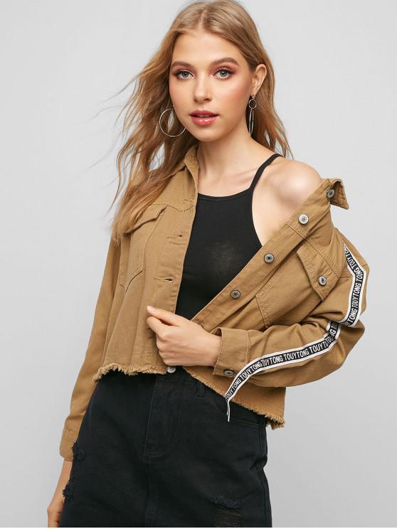 fashion Frayed Button Up Letter Tape Denim Jacket - BROWN BEAR M