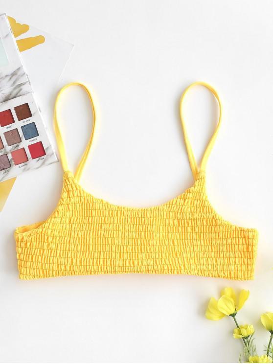 womens ZAFUL Smocked Bralette Bikini Top - RUBBER DUCKY YELLOW M