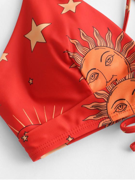 De Soleil a Rembourré M Bikini Haut Zaful Lune Et Imprimés LacetsMulti À hrCdtxsQBo