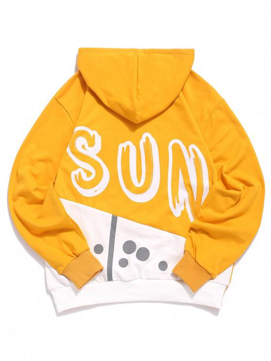 fashion Sun Letter Print Color Block Panel Kangaroo Pocket Hoodie - YELLOW 3XL