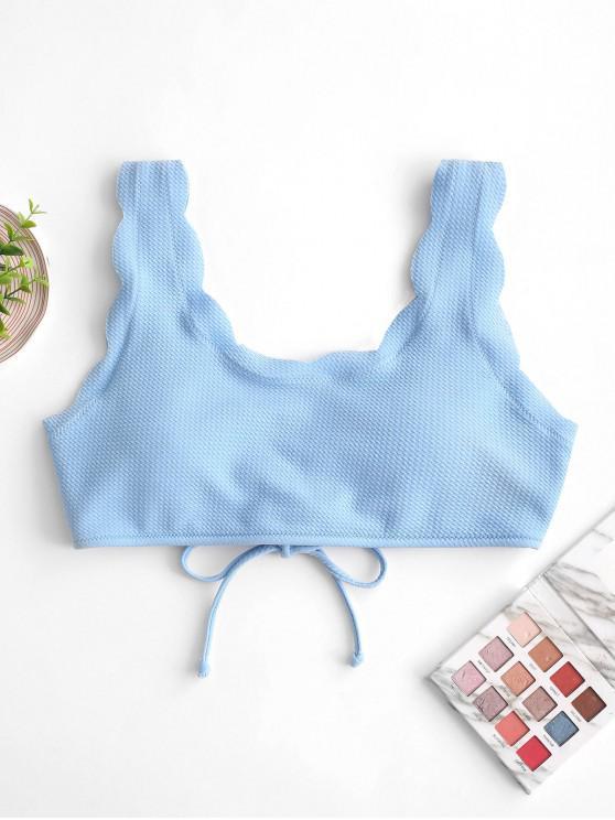 fancy ZAFUL Textured Lace-up Scalloped Bikini Top - LIGHT BLUE M