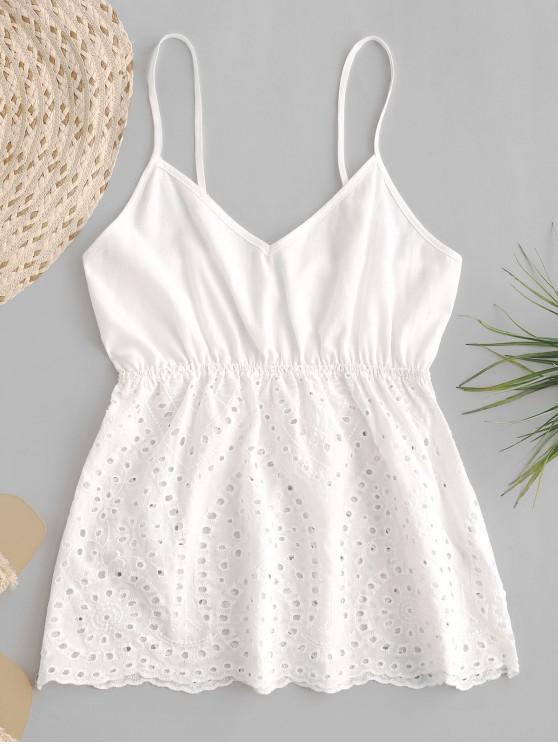 trendy ZAFUL Smocked Back Scalloped Hem Eyelet Cami Top - MILK WHITE L