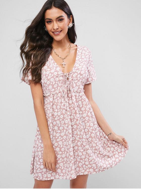 unique ZAFUL Floral Print Lace Up A Line Dress - FLAMINGO PINK S