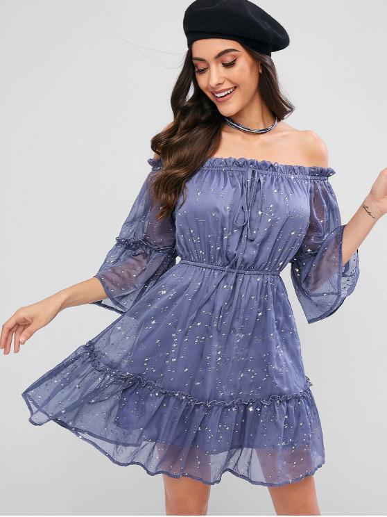 womens ZAFUL Off Shoulder Ruffle Star Mini Dress - BLUE GRAY L