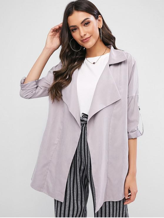 latest ZAFUL Pockets Buttoned Sleeve Tabs Open Front Coat - GRAY XL