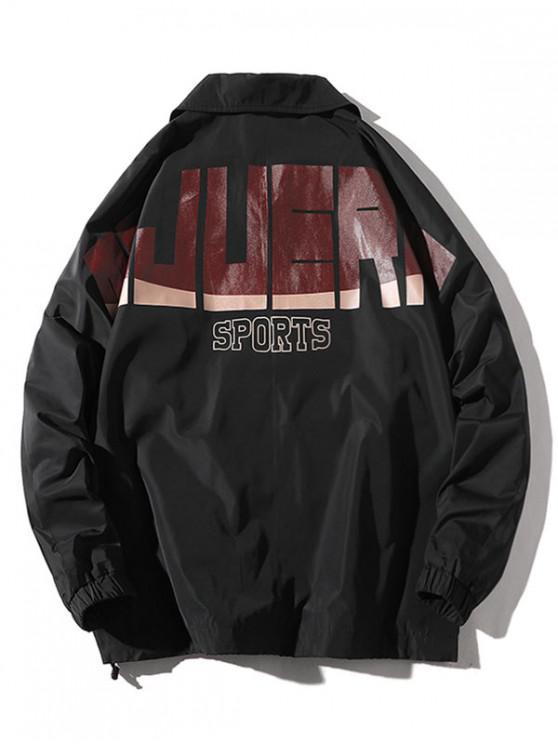 Chaqueta con manga raglán y bolsillo con estampado gráfico de letras - Negro XL