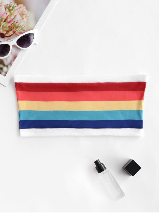 ladies Rainbow Striped Tube Top - MULTI-A S
