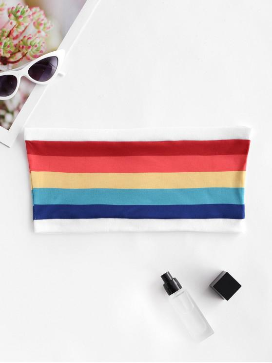 Top de tubo a rayas arcoiris - Multicolor-A L