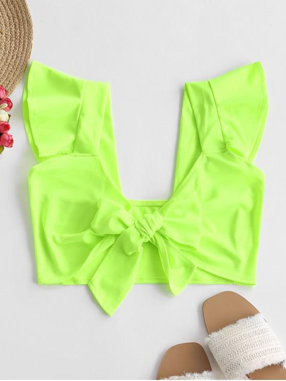 shop Neon Ruffle Tie Front Top - CHARTREUSE L