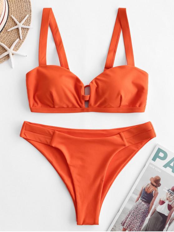 womens ZAFUL V-notch Cutout High Leg Bikini Swimsuit - HALLOWEEN ORANGE L
