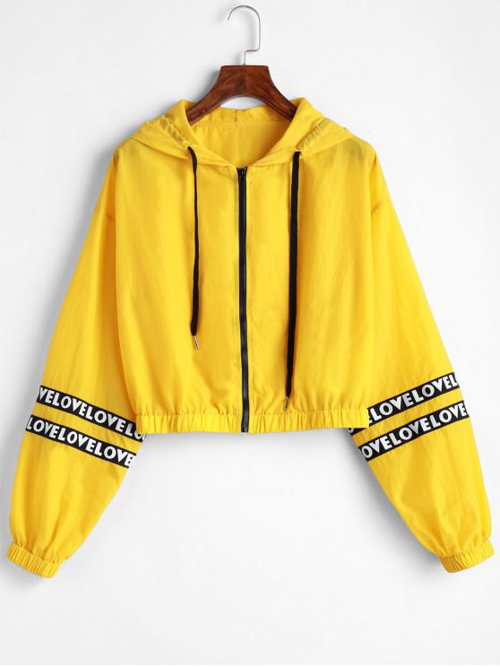 womens ZAFUL Letter Patched Hooded Crop Jacket - YELLOW S