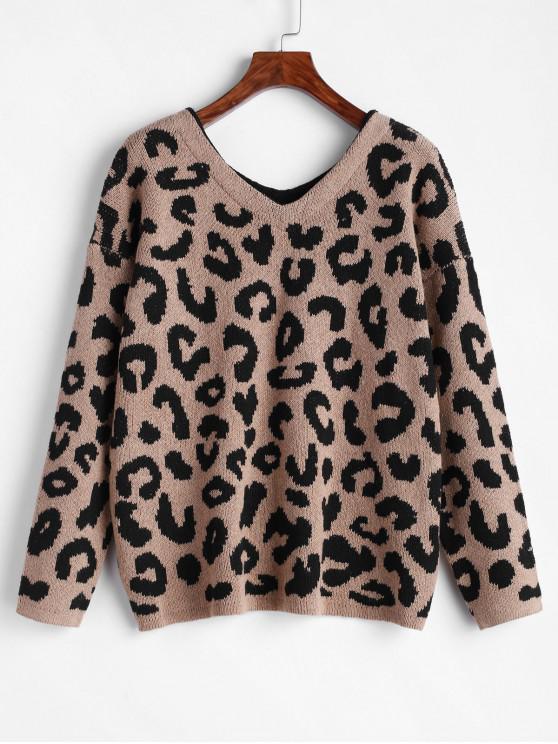 sale ZAFUL V Neck Leopard Print Drop Shoulder Boyfriend Sweater - MULTI M
