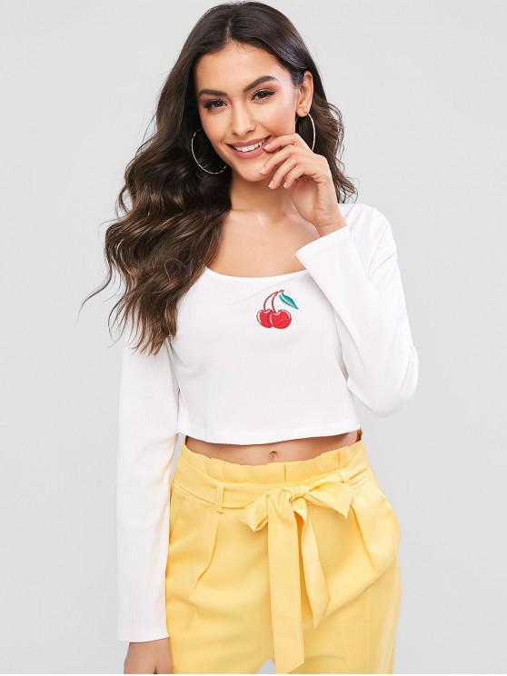 trendy ZAFUL Ribbed Cherry Embroidered Crop Top - MILK WHITE L