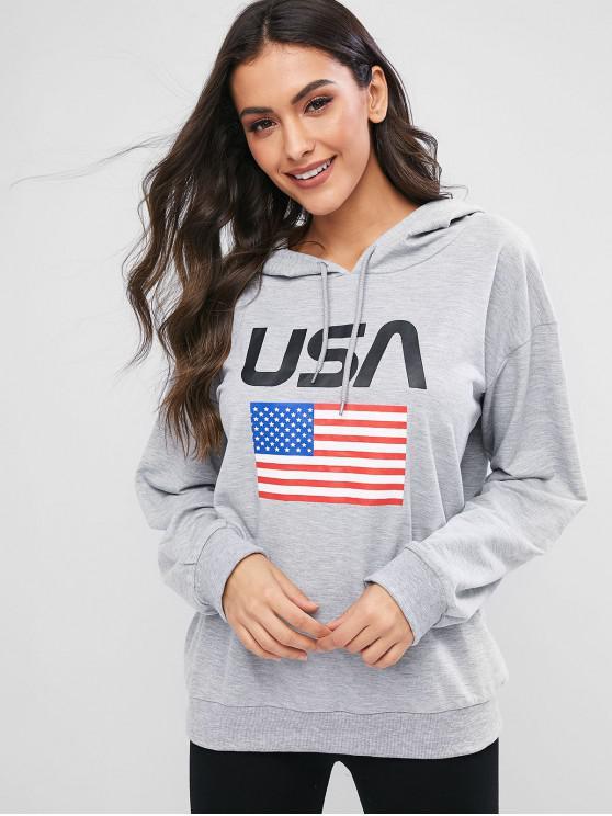 Sudadera con capucha y cordón gráfico de la letra de la bandera americana de ZAFUL - Platino XL