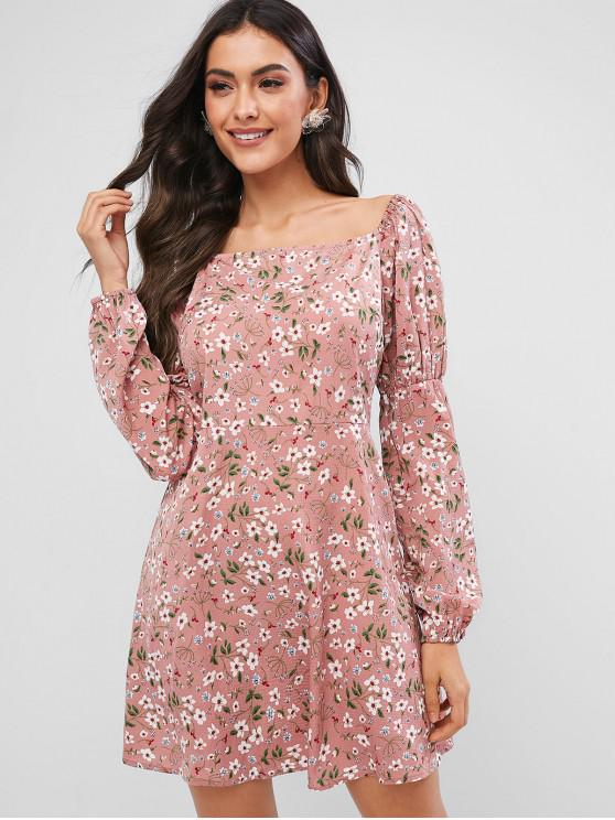 chic ZAFUL Ditsy Floral Square Neck Long Sleeve Dress - PINK S