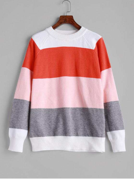 lady ZAFUL Crew Neck Raglan Sleeve Color Block Sweater - MULTI M