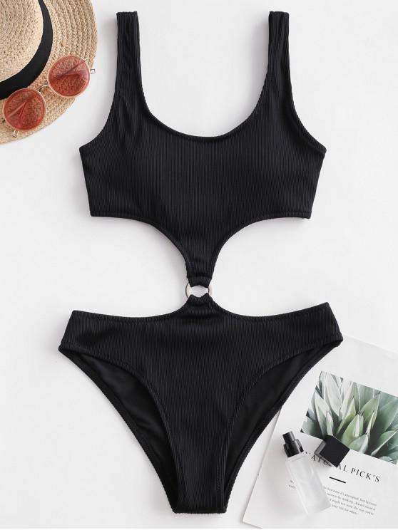 fashion ZAFUL  Textured Ribbed O-ring Monokini Swimsuit - BLACK M