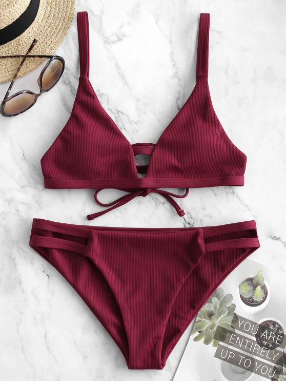 womens ZAFUL Ribbed Hollow Out Low Waisted Bikini Swimsuit - RED WINE M