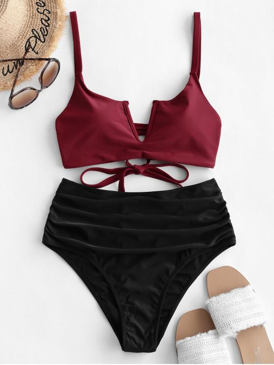 fashion ZAFUL V-wired Ruched Lace-up Tankini Swimsuit - BLACK L
