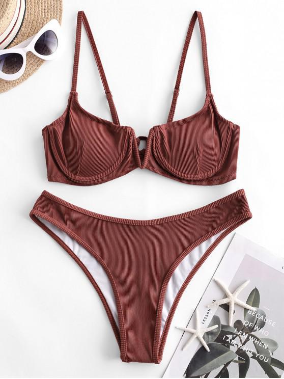 women ZAFUL Ribbed V-notch Underwire Balconette Bikini Swimsuit - SEPIA S