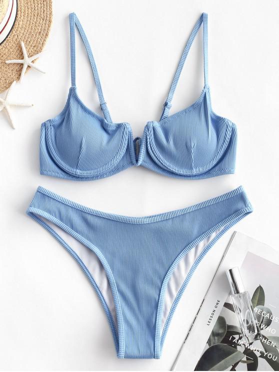 outfit ZAFUL Ribbed V-notch Underwire Balconette Bikini Swimsuit - DAY SKY BLUE M