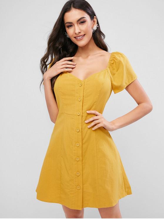 ladies ZAFUL Button Through Sweetheart Mini Dress - BRIGHT YELLOW M