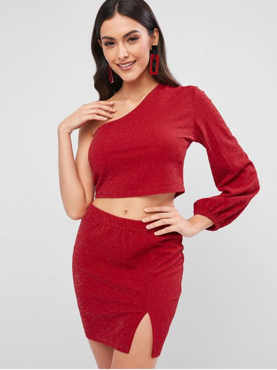 outfit ZAFUL Sparkle One Shoulder Crop Slit Skirt Set - LAVA RED XL