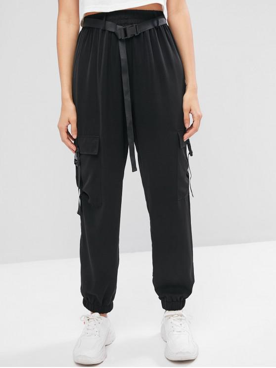 buy ZAFUL Buckled Belted Solid Jogger Pants - BLACK S