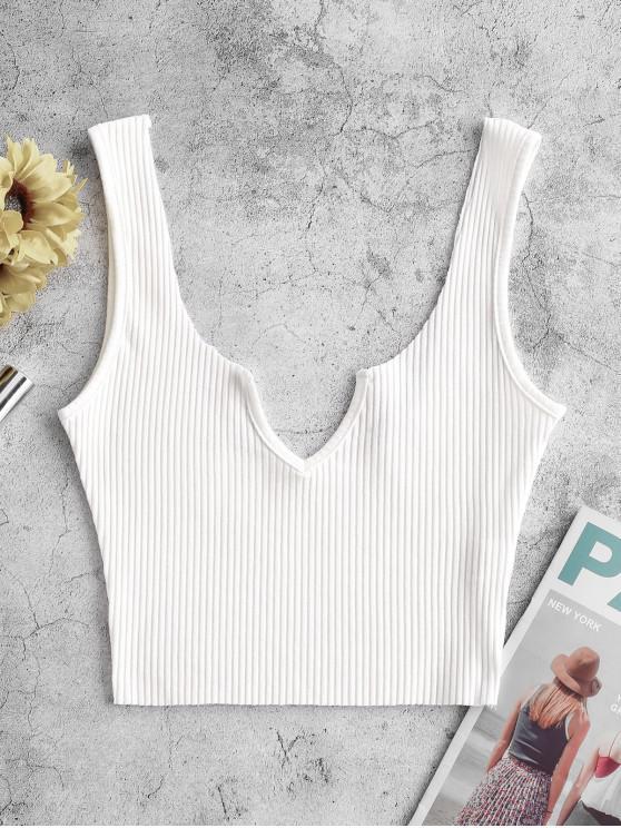 Camiseta acanalada con muesca en V acanalada - Blanco M