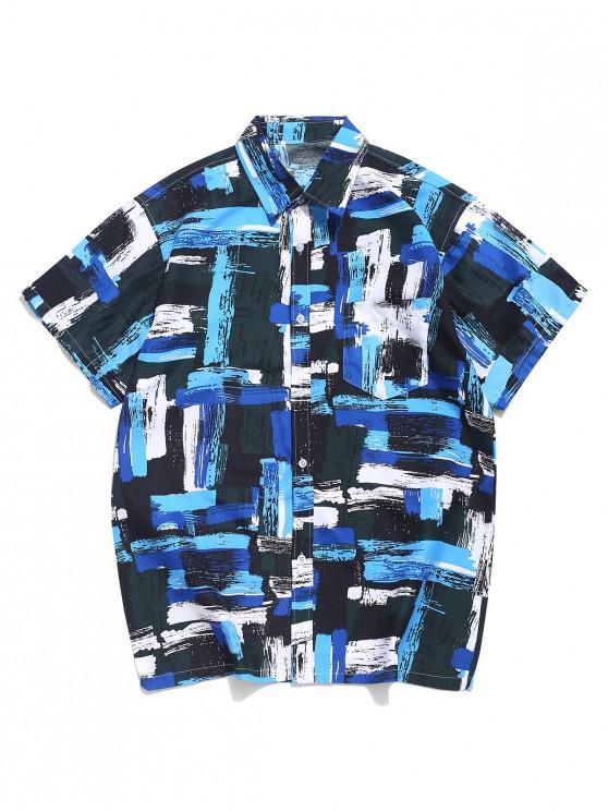 shops Geometric Paint Print Chest Pocket Beach Vacation Shirt - BLUE M