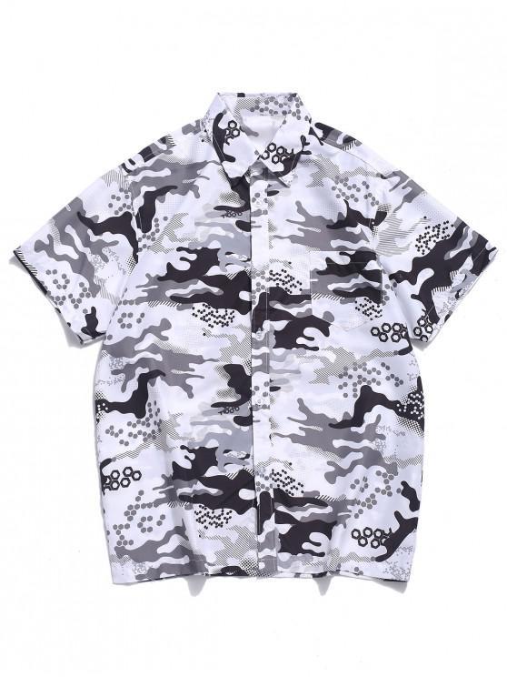 Camisa de vacaciones de playa con bolsillo en el pecho con estampado de camuflaje - Blanco XL