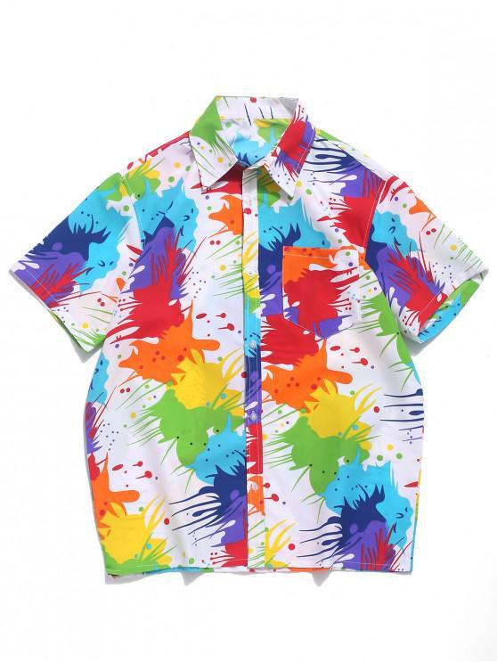women Colored Painting Splatter Print Chest Pocket Beach Vacation Shirt - WHITE XL
