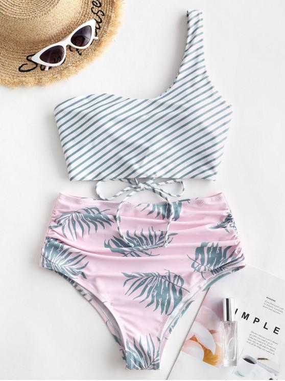 chic ZAFUL Striped Leaf Print Ruched One Shoulder Tankini Swimsuit - GREENISH BLUE M