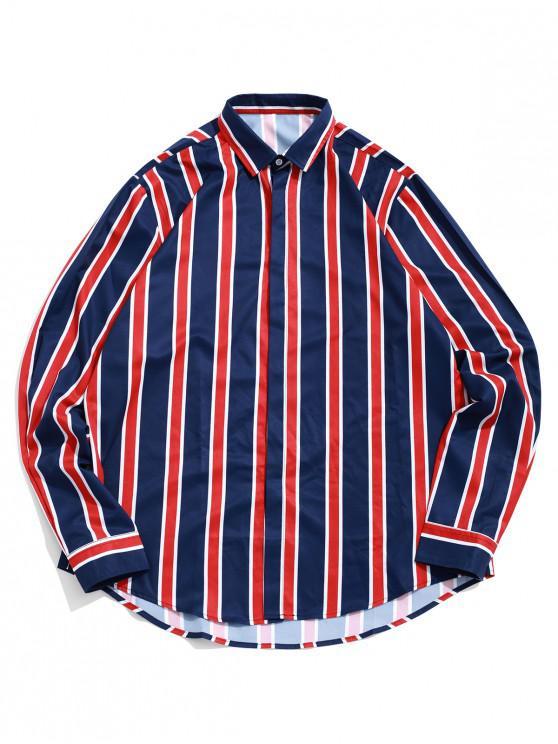 womens High Low Color Block Stripes Print Button Up Shirt - DEEP BLUE M