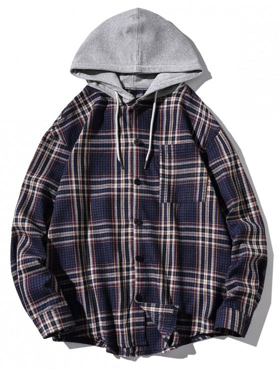 women's Chest Pocket Plaid Print Curved Hem Hooded Shirt - BLUE 2XL