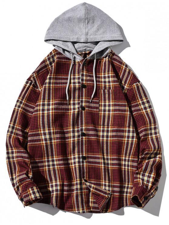 latest Chest Pocket Plaid Print Curved Hem Hooded Shirt - RED 4XL