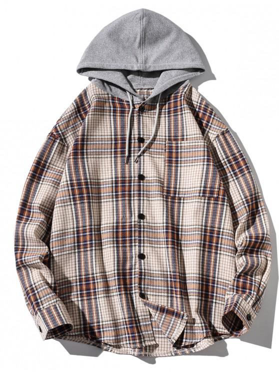 latest Chest Pocket Plaid Print Curved Hem Hooded Shirt - BLANCHED ALMOND M