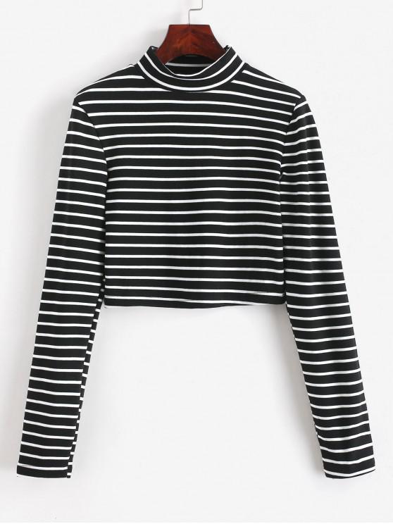 Camiseta corta de rayas con cuello alto - Negro XL