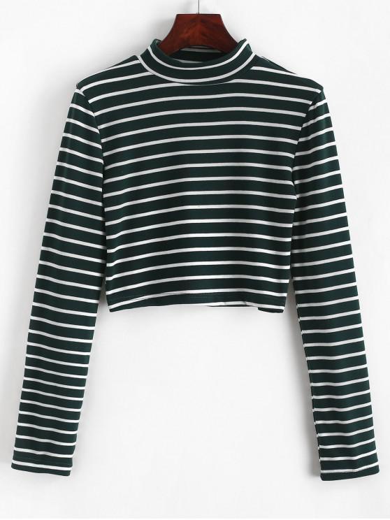 Camiseta corta de rayas con cuello alto - Verde S