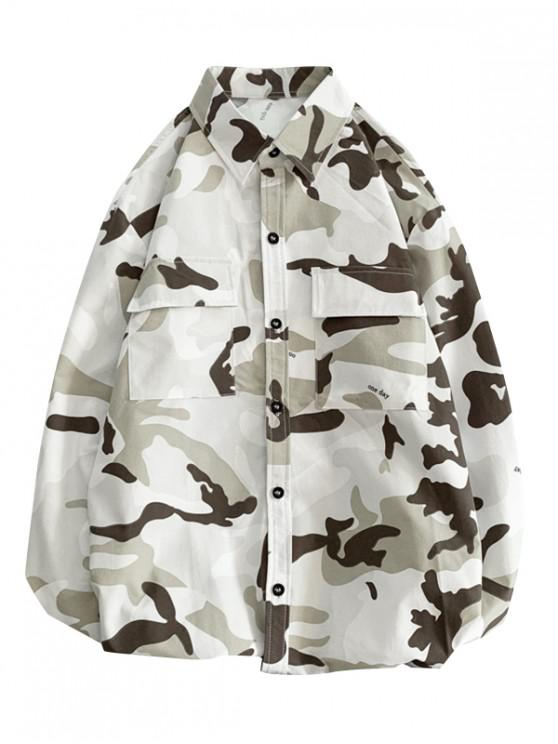 latest One Day Letter Camouflage Print Flap Pocket Button Shirt - YELLOW M